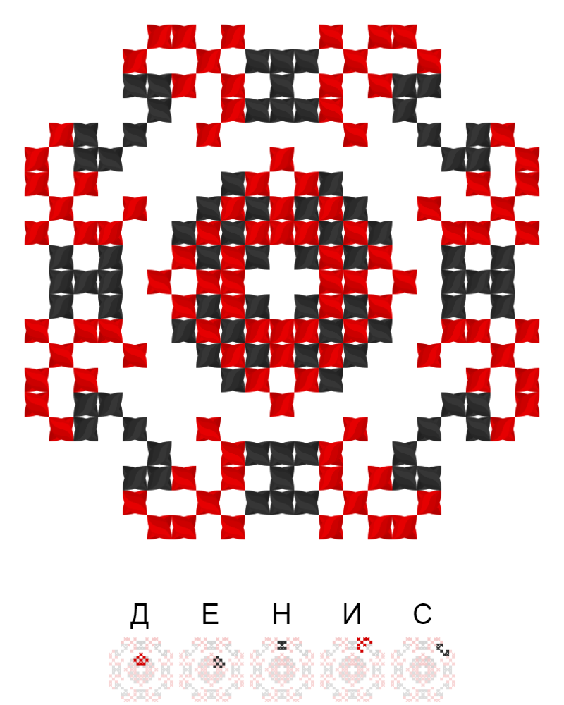 Текстовий слов'янський орнамент: Денис