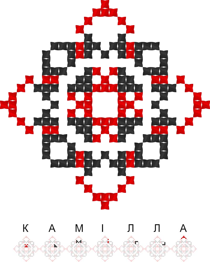 Текстовий слов'янський орнамент: Камiлла