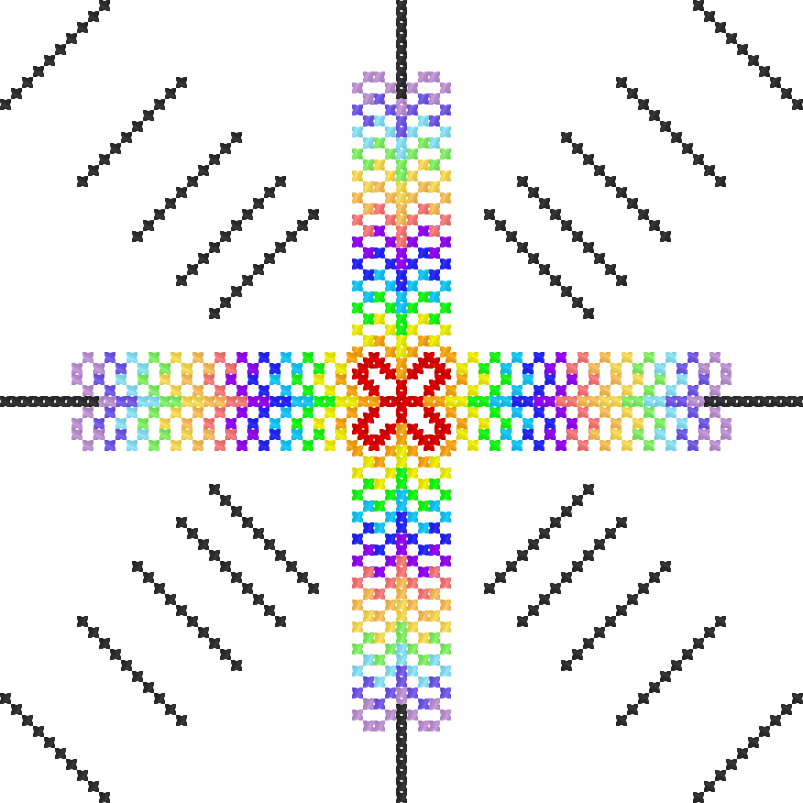 Текстовий слов'янський орнамент: кольорова квітка