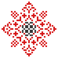 Текстовый украинский орнамент: сонце-квітка