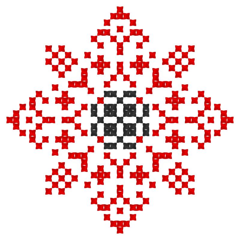 Текстовий слов'янський орнамент: сонце-квітка