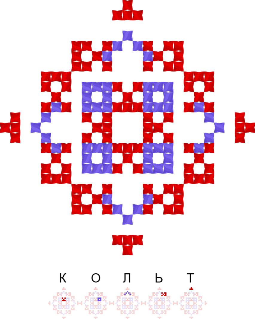 Текстовий слов'янський орнамент: Кольт / Brawl Stars