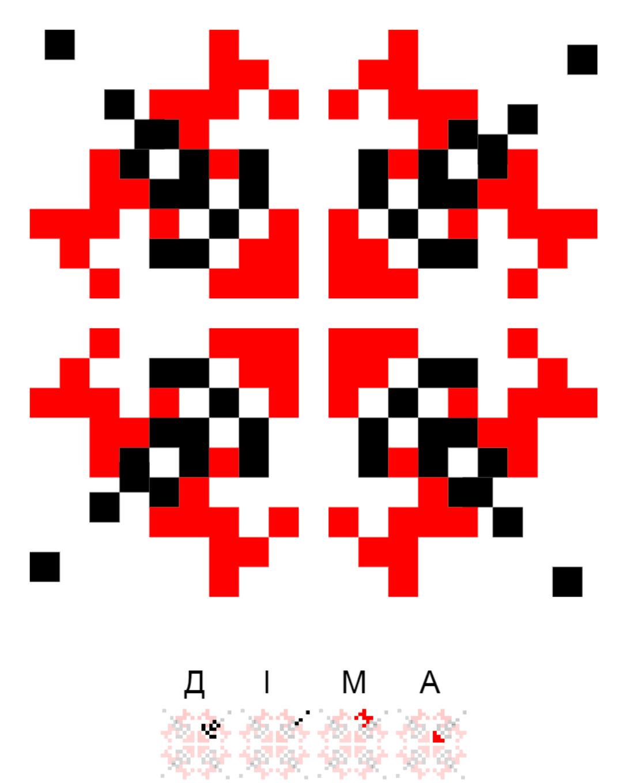 Текстовий слов'янський орнамент: Діма