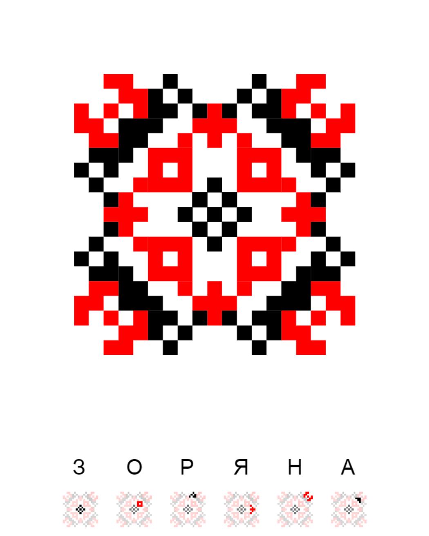 Текстовий слов'янський орнамент: Зоряна
