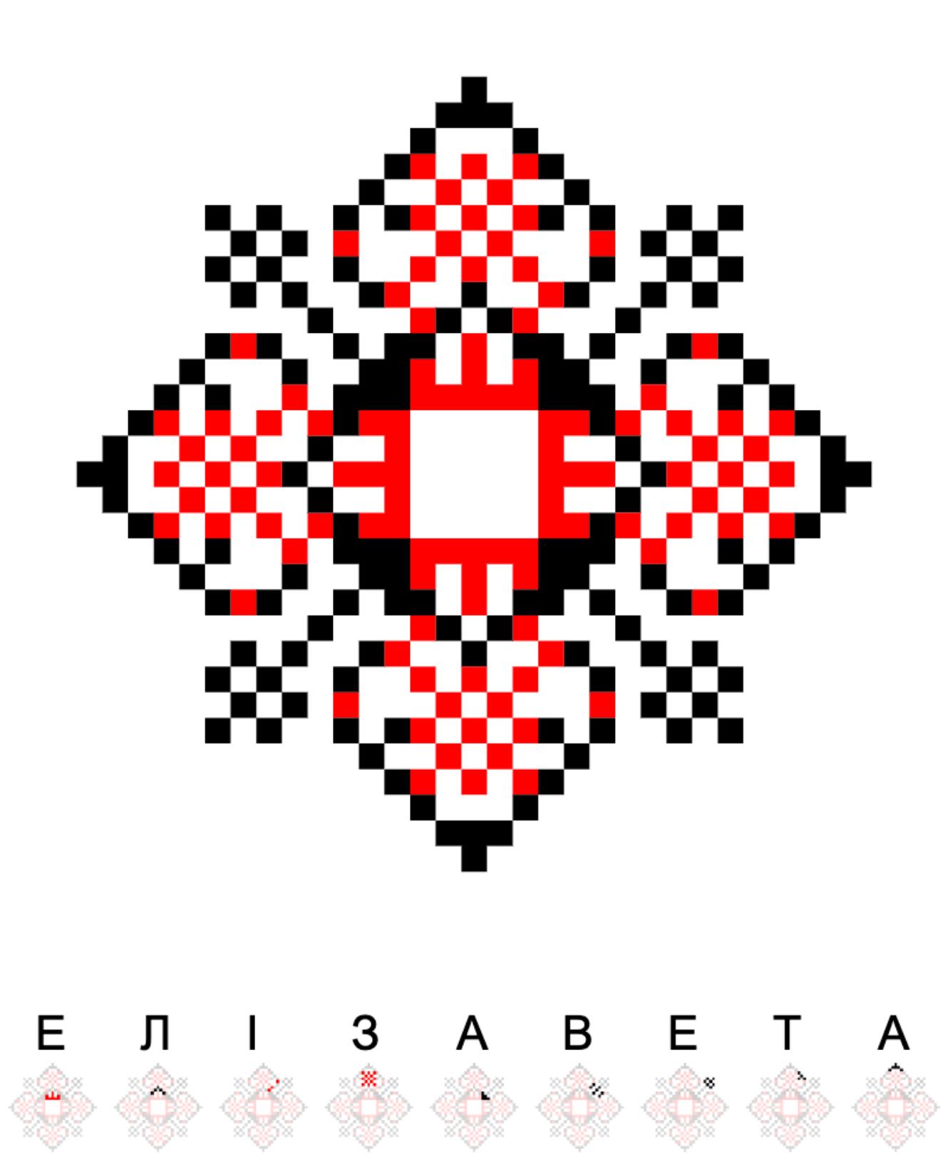 Текстовий слов'янський орнамент: Елізавета