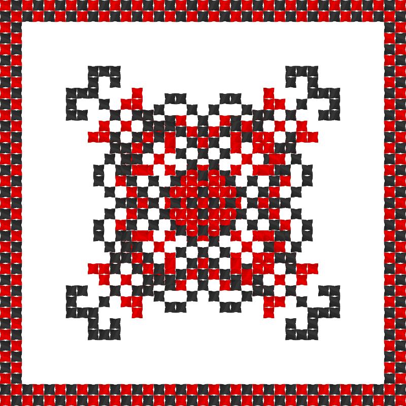 Текстовий слов'янський орнамент: Червоний мак
