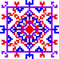 Текстовый украинский орнамент: У квадраті