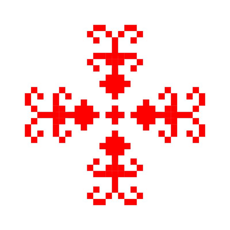 Текстовий слов'янський орнамент: півень