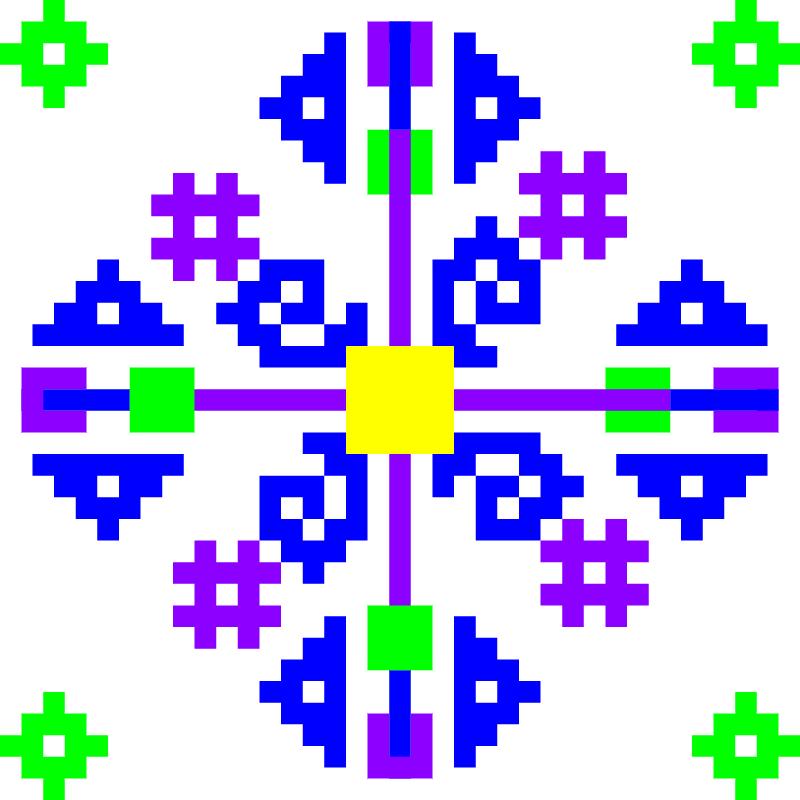 Текстовий слов'янський орнамент: Перевернутий квадрат