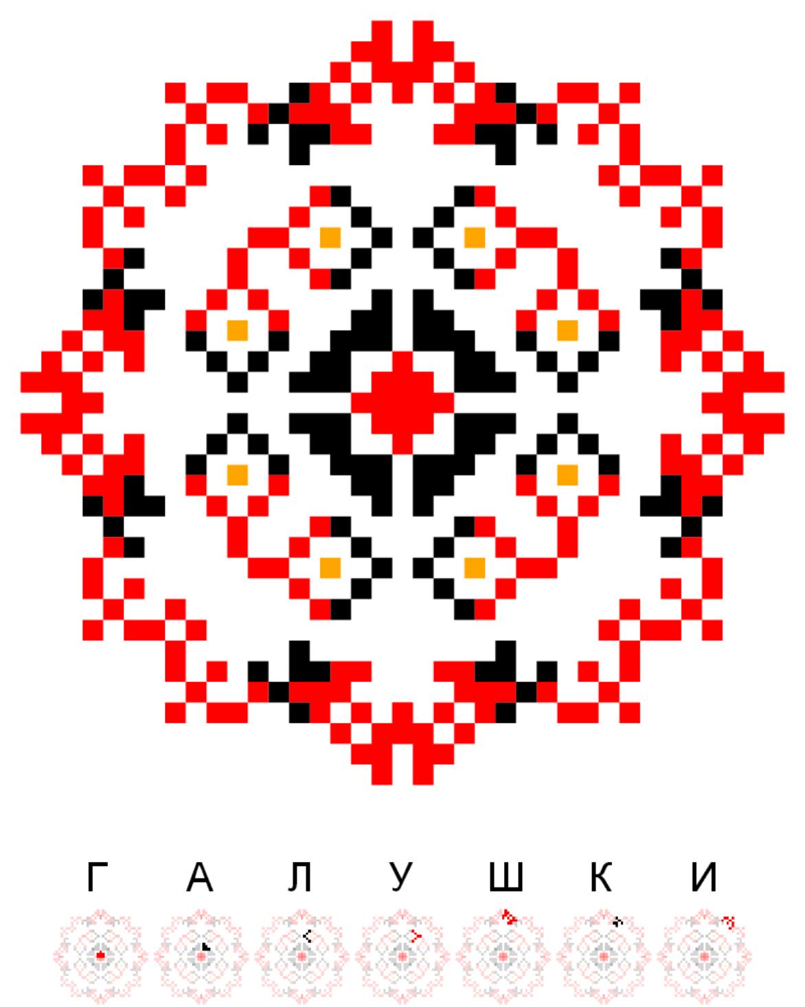 Текстовий слов'янський орнамент: Галушки