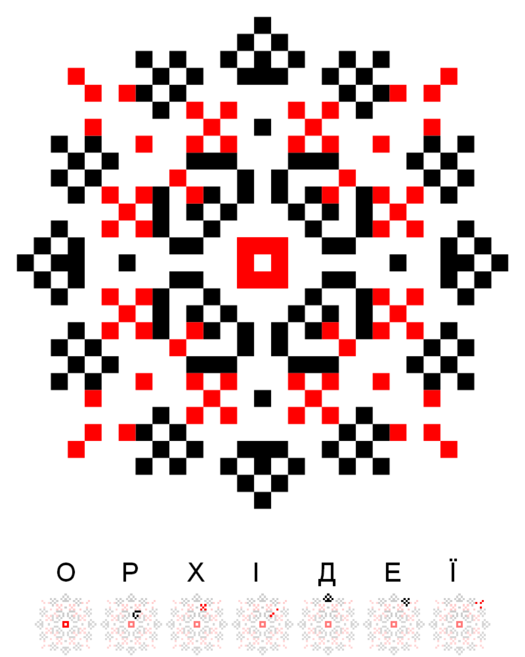 Текстовий слов'янський орнамент: Орхідеї