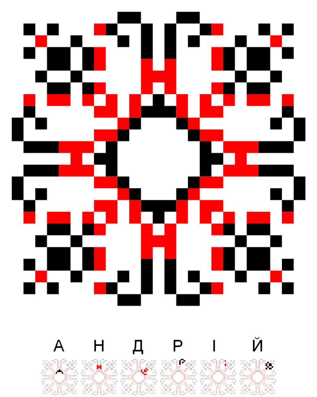 Текстовий слов'янський орнамент: Андрій