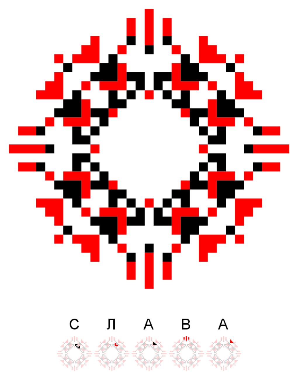Текстовий слов'янський орнамент: Слава