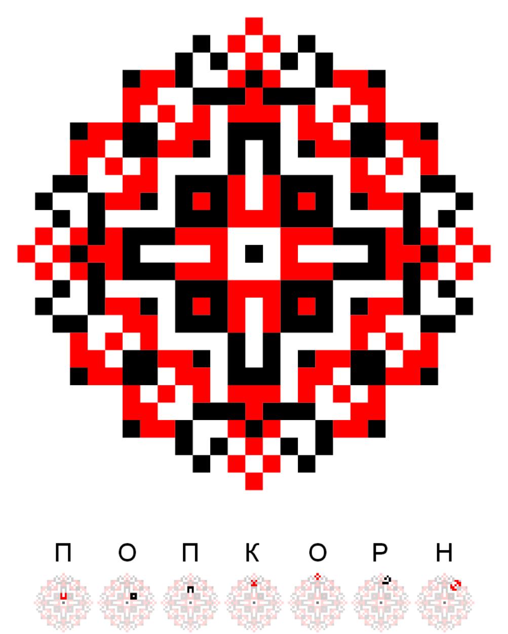 Текстовий слов'янський орнамент: Попкорн