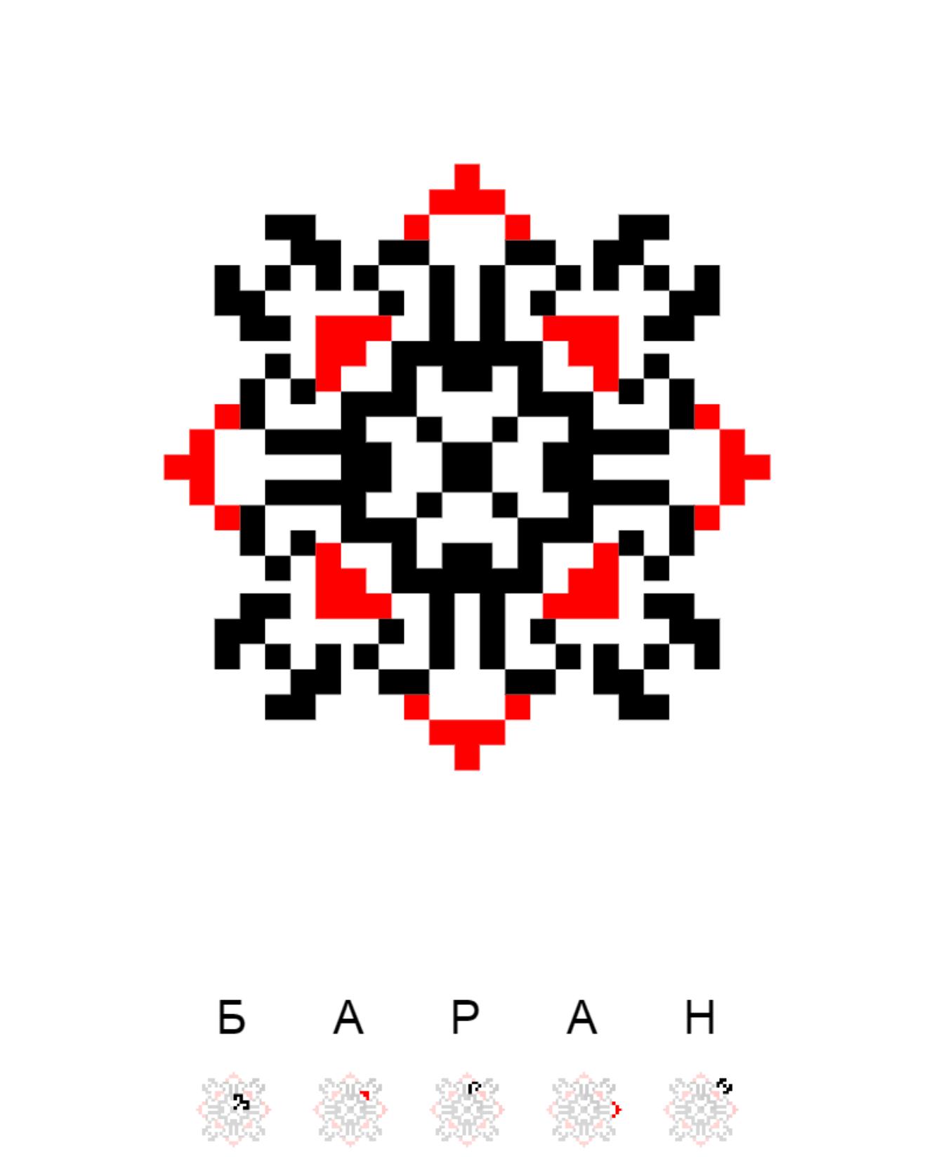 Текстовий слов'янський орнамент: баран