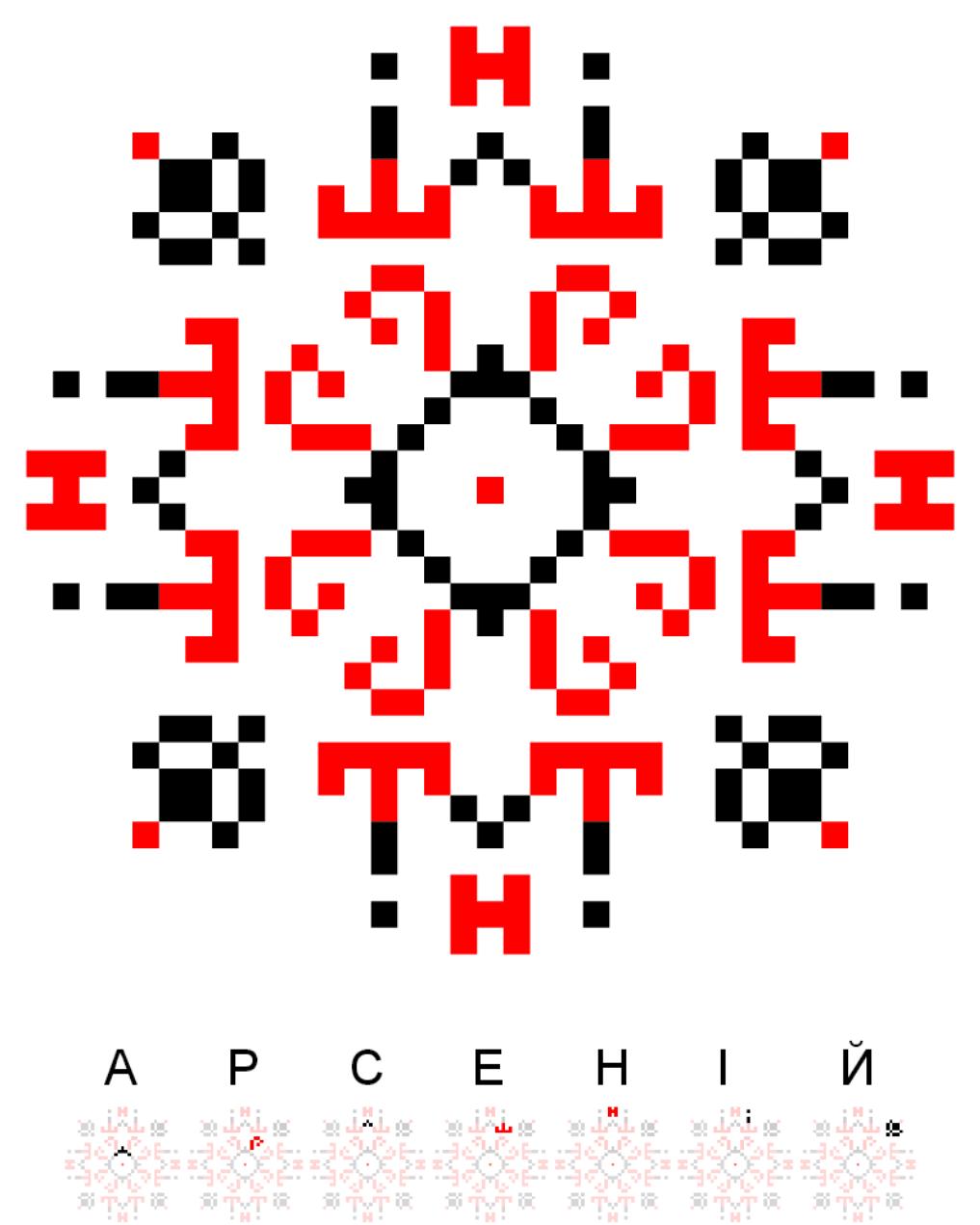 Текстовий слов'янський орнамент: Арсеній