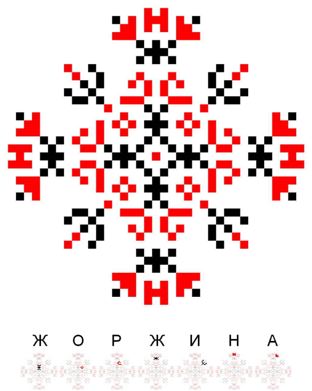 Текстовий слов'янський орнамент: Жоржина