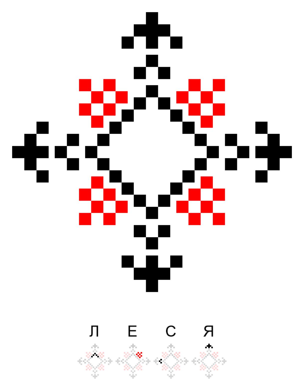 Текстовий слов'янський орнамент: ЛЕСЯ