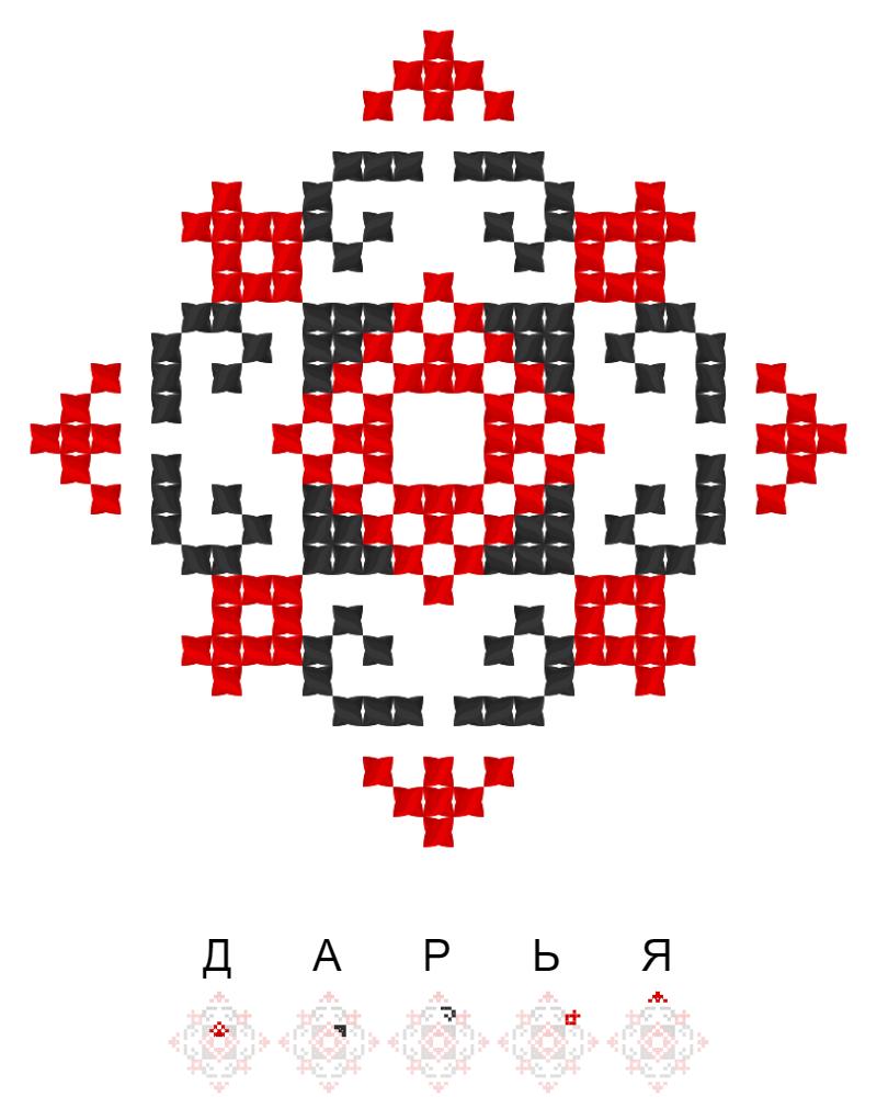 Текстовий слов'янський орнамент: Дарья